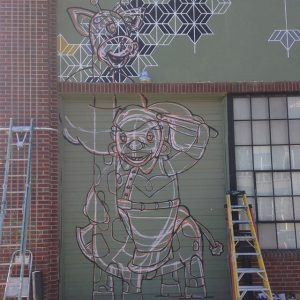 Mural in progress. Image courtesy of Mike Graves.