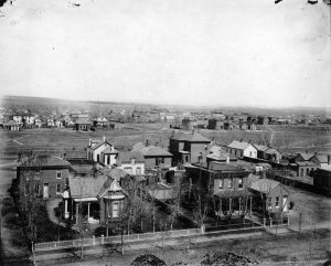 A view of Stout Street and 29th. Image courtesy Stephen H. Hart Library & Research Center, History Colorado.