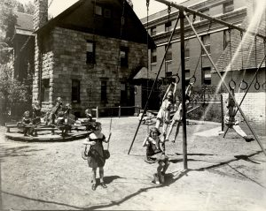 Children playing at St. Mary's Academy (14th & Pennsylvania) Courtesy, Stephen H. Hart Library & Research Center, History Colorado