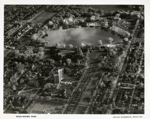 Aerial photograph of Smith Lake at Washington Park. Photographed by Otto Roach of the Denver Commercial Photo Co., circa 1932-1935. Image courtesy Stephen H. Hart Library & Research Center, History Colorado.