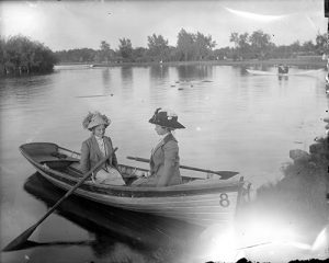 Two women sit in a row boat on Smith Lake in Washington Park circa 1905-1915. Image courtesy Stephen H. Hart Library & Research Center, History Colorado.