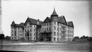 Wolfe Hall (13th & Clarkson) was a private Episcopalian school that opened in 1889 and was torn down in 1920. Circa 1900. Image Courtesy Stephen H. Hart Library & Research Center, History Colorado.