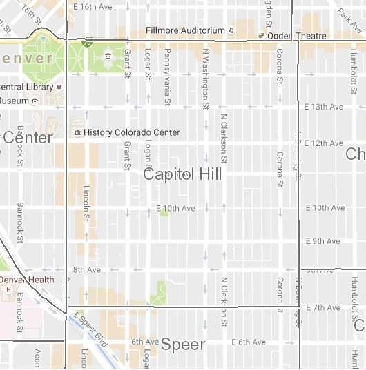 The Capitol Hill neighborhood is bounded by Downing, Broadway, 7th Ave. and Colfax.