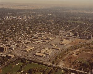 An undated aerial photo showing the Cherry Creek Shopping Center and surrounding area. Image courtesy Stephen H. Hart Library & Research Center, History Colorado