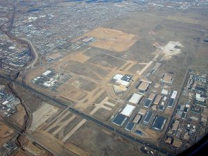 An aerial view of the former Stapleton Airport site taken on February 6, 2006. Image: Doc Searls