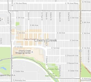 Cherry Creek is bounded by University and Colorado Boulevards, 6th, Alameda and the Cherry Creek.