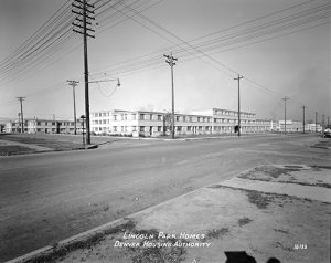 An undated photo of homes built during the Lincoln Park Housing Authority Housing Project. Image courtesy Stephen H. Hart Library & Research Center, History Colorado.