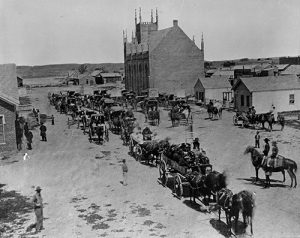 A snapshot of street life in early Denver in the Camp Weld area. Image courtesy Stephen H. Hart Library & Research Center, History Colorado.