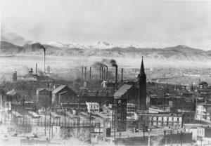 A view of the early Denver skyline looking west, which includes the Eagle Flour Mills, Franktown Creamery and parts of Auraria and Lincoln Park. Image courtesy Stephen H. Hart Library & Research Center, History Colorado.