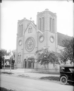 The Holy Rosary Church at 4695 Pearl Street circa 1920-1930. Image courtesy Stephen H. Hart Library & Research Center, History Colorado.