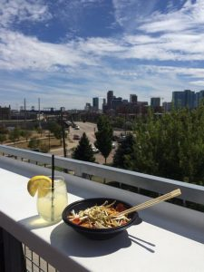 The stunning view from the Avanti rooftop. This food hall offers many different cuisines plus a full bar. Image: Tara Bardeen