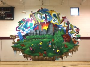 A recently painted mural at the Globeville Recreation Center. Image: Tara Bardeen